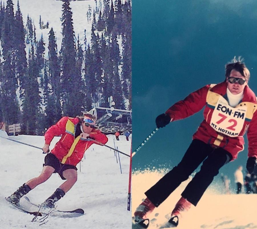 two skiers sliding down mountains