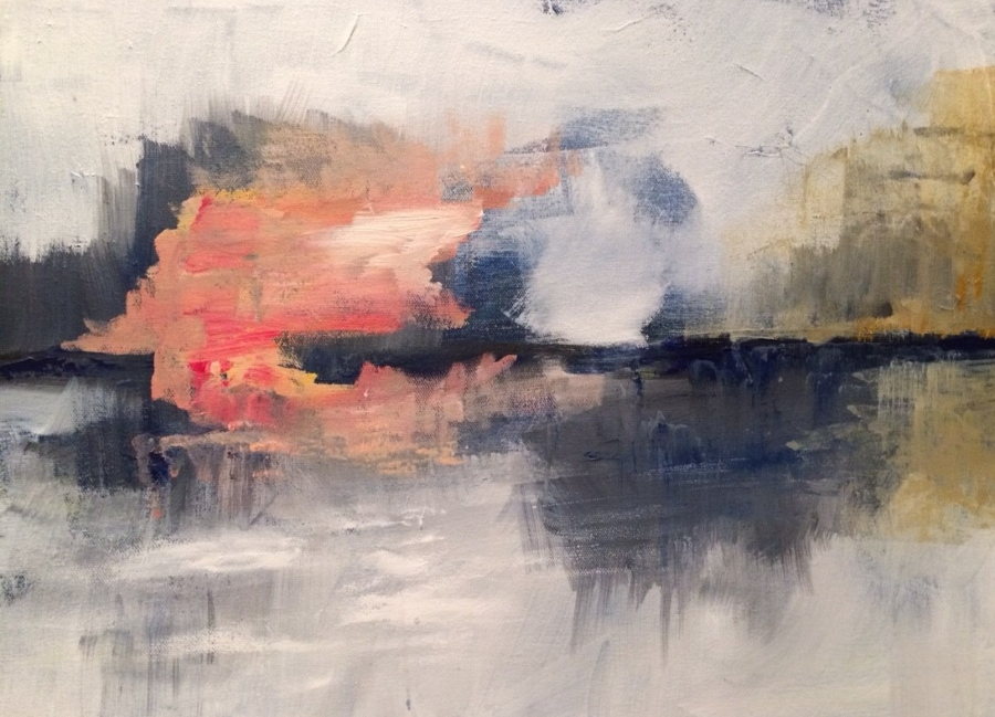 painting of sunset orange and black
