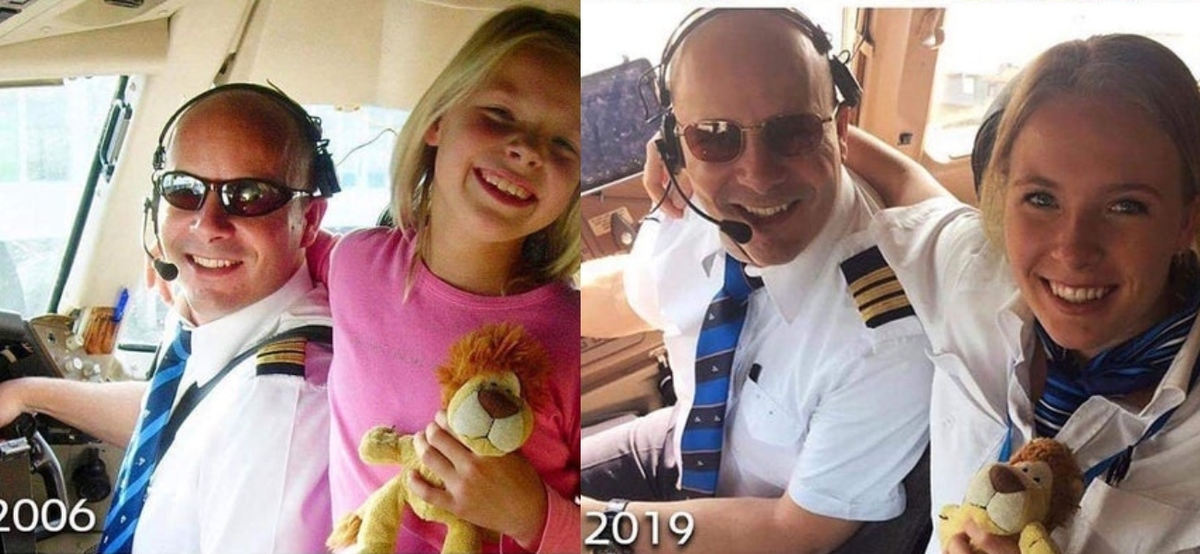 father and daughter pilots in plane