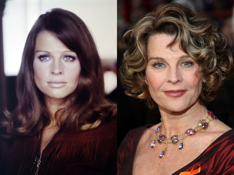 Julie Christie looks nearly the same in her youth as in a recent photo, both wearing a straight face.