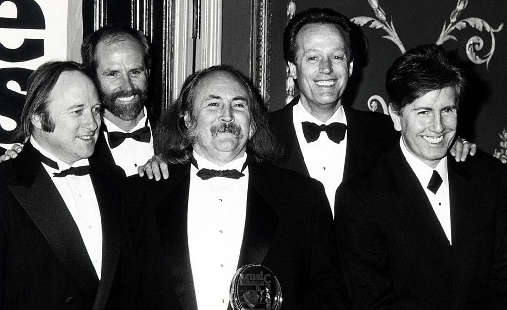 Peter Fonda with Stephen Stills, Graham Nash, and David Crosby