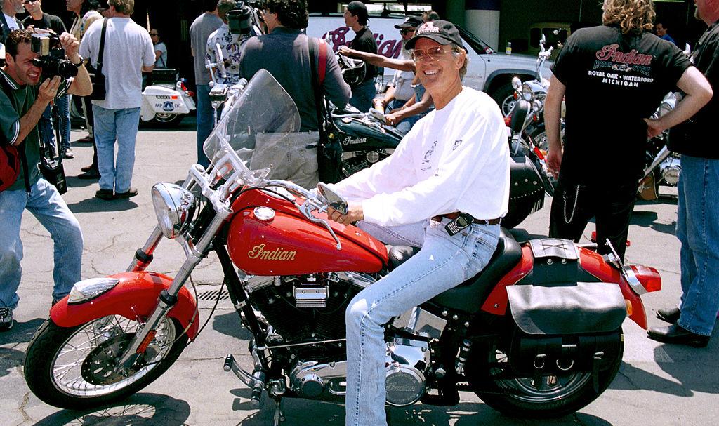 Fonda celebrating Indian Motorcycles