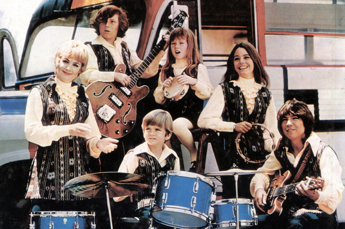 Photo of the Partridge sitcom family playing music, circa 1970.