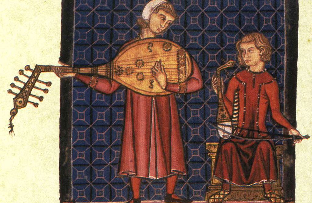 Medieval men playing instruments