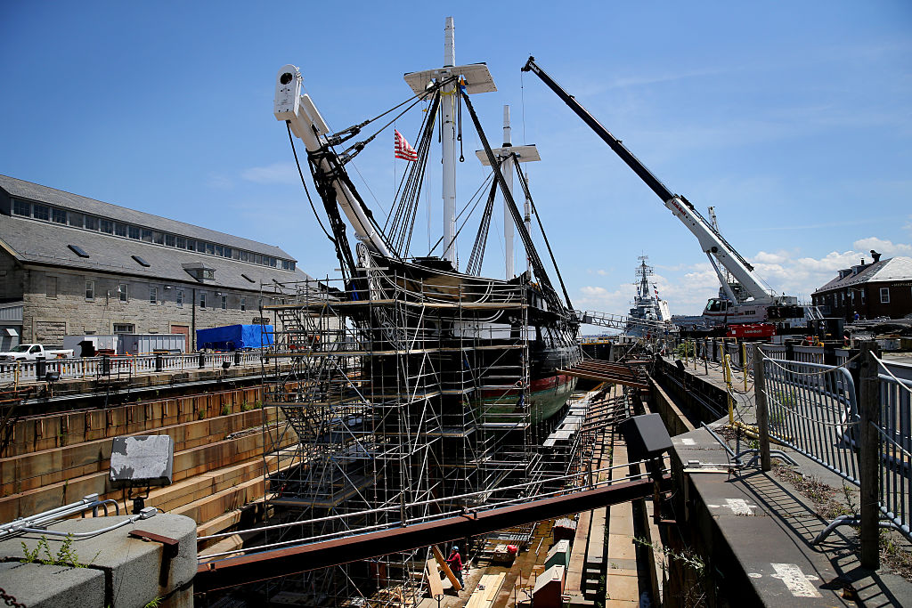 The USS Constitution recieves repairs.