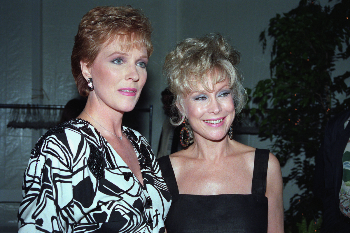 Barbara Eden and Julie Andrews are shown at a sold-out Operation California benefit dinner/auction