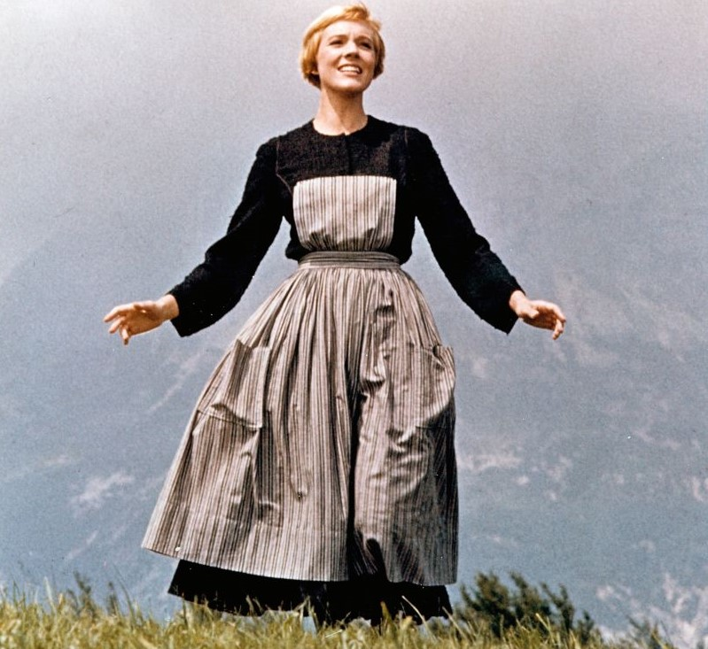 Julie Andrews sings on a mountain in The Sound of Music.