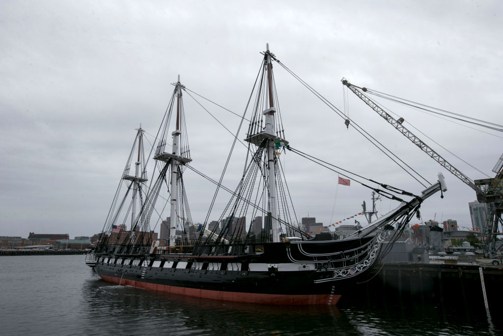 The USS Constitution sits at the harbor in Boston.