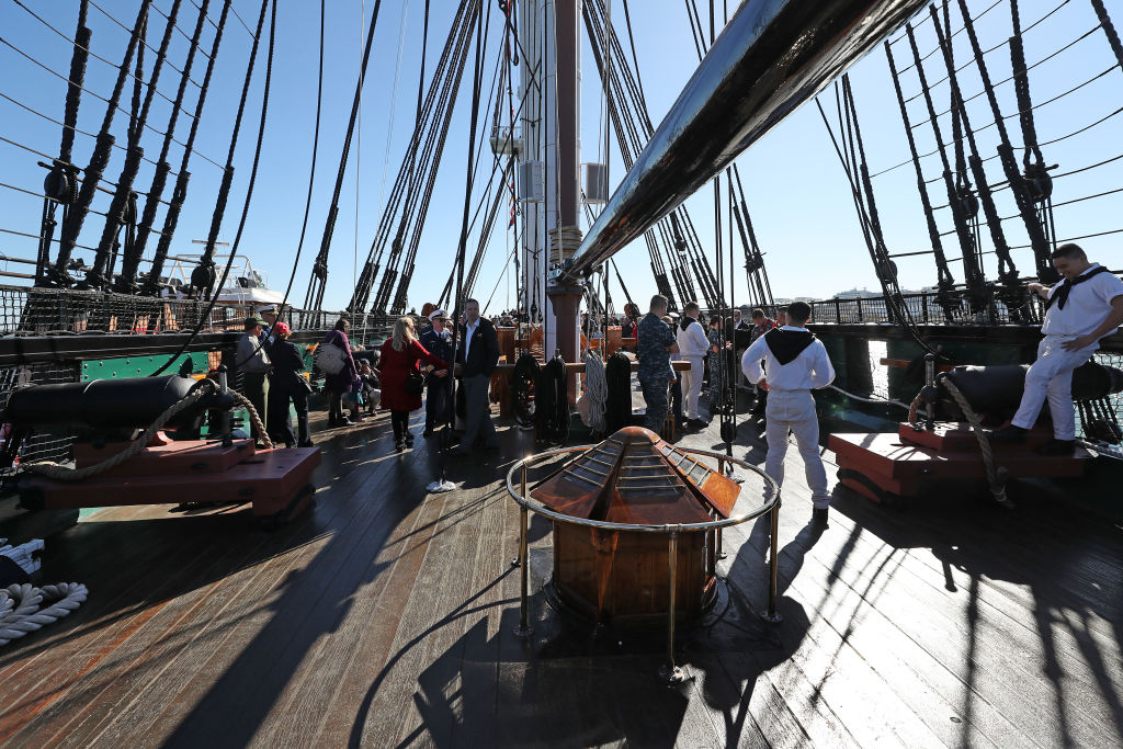 Visitors explore the deck of the USS Constitution.