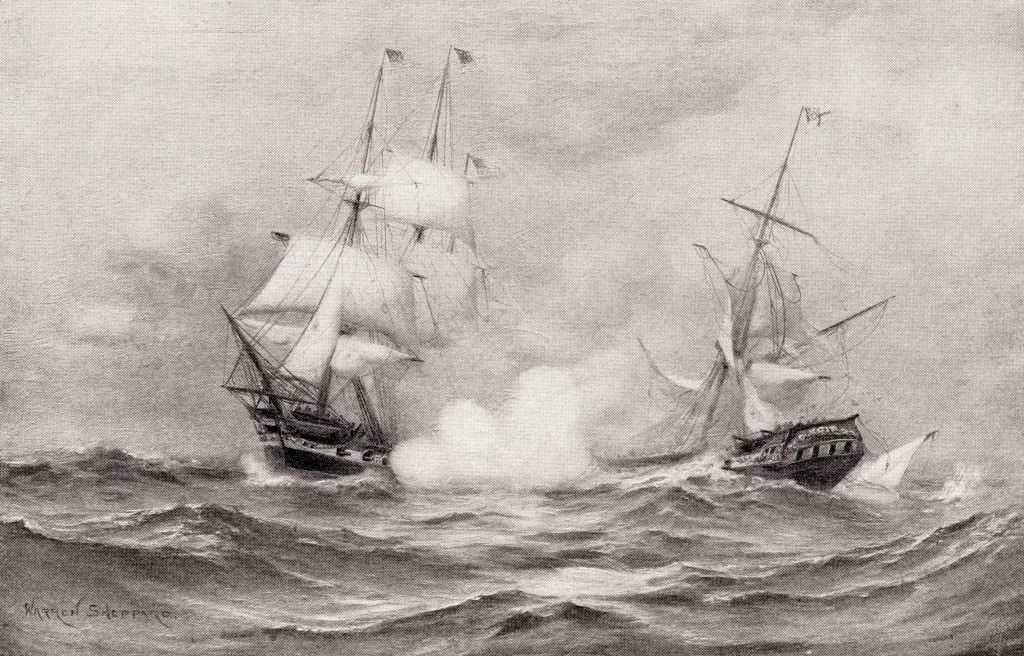 A drawing portrays the USS Constitution shaky at sea.