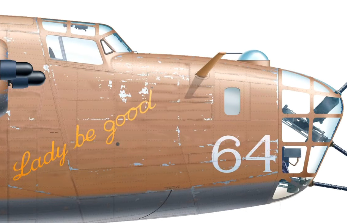 An artist portrays Lady Be Good as she appeared: with the number 64 and the name