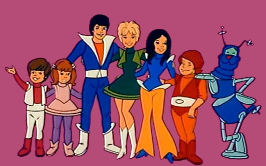 Still frame from the animated show The Partridge Family 2200 AD