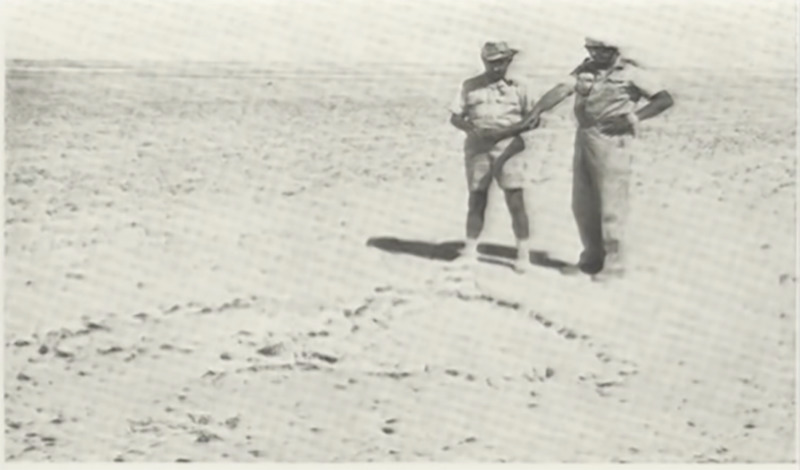 Army search chiefs point at a parachute strip marker left by Lady Be Gone.