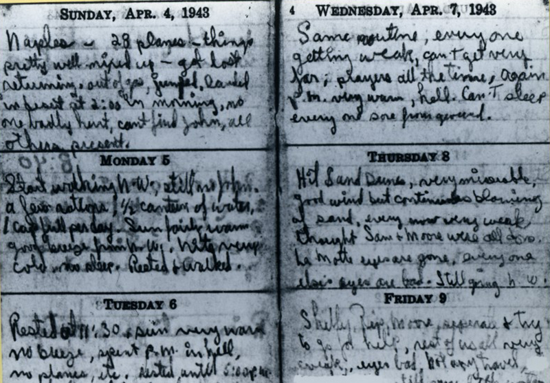 A view of two pages of Toner's diary.