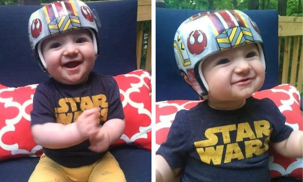 Two photos of a boy in his painted helmet