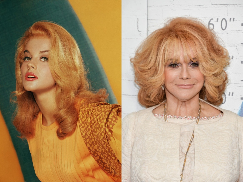 Young Ann-Margret leans forward with her mouth parted for a publicity still next to older Ann-Margret, who smiles at an event and still dyes her hair strawberry blonde.