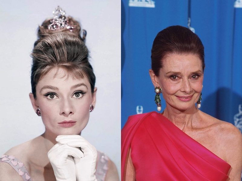 Audrey Hepburn looks elegant as ever wearing pink in both the 1960s and the 1990s.