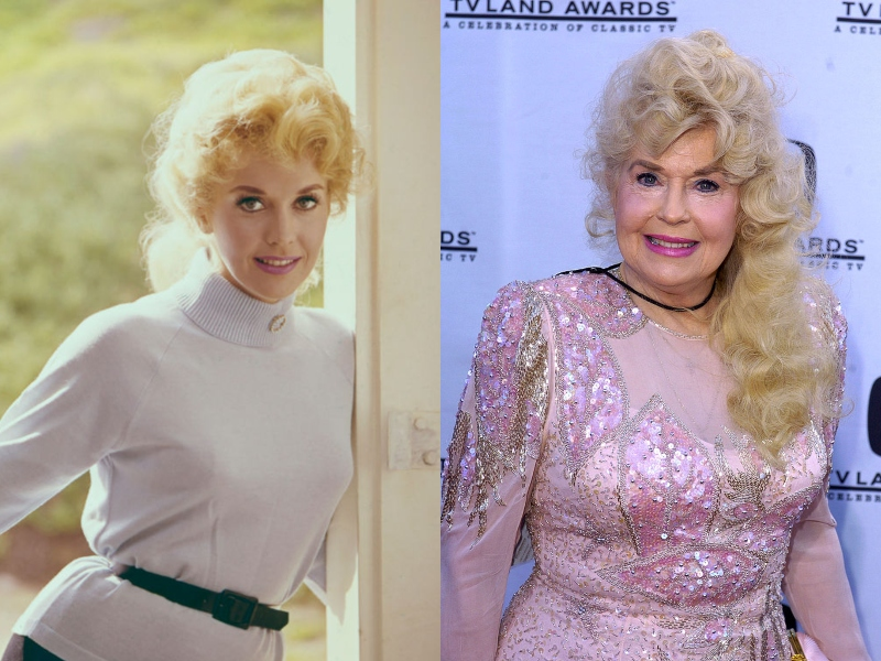 Donna wears pink lipstick and her blonde hair loosely combed back in both her youth and old age.