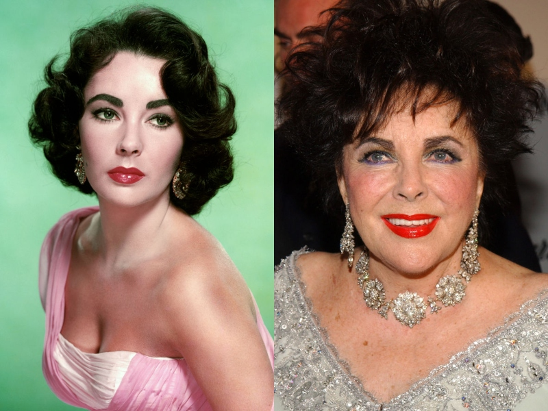 Young Elizabeth Taylor wears the same bold lipstick and gaudy jelewry as her later self.
