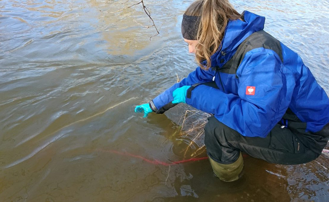 Student explores the melted Kolyma River.
