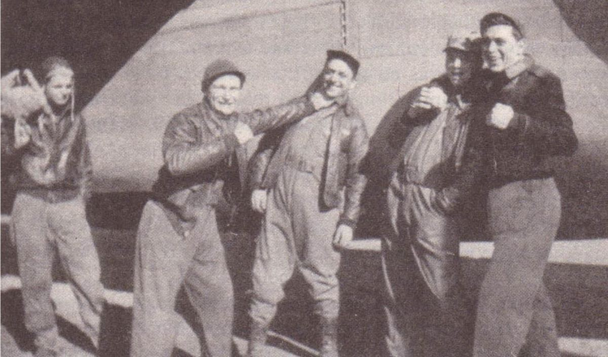 Five crew members of Lady Be Good pose playfully for a picture. From left to right: Moore, Hays, Woravka, Shelley, and Ripslinger.