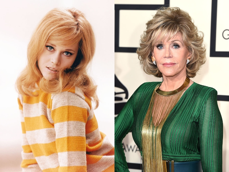 Young Jane Fonda poses playfully next to an image of older Jane looking seriously in a green dress at an event.