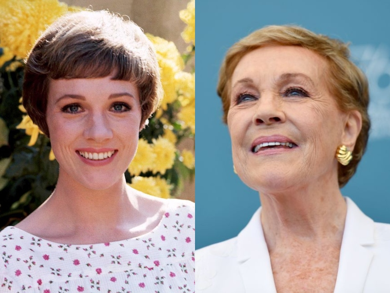 Young Julie Andrews smiles in front of yellow flowers next to and older Andrews who looks up with a smile.