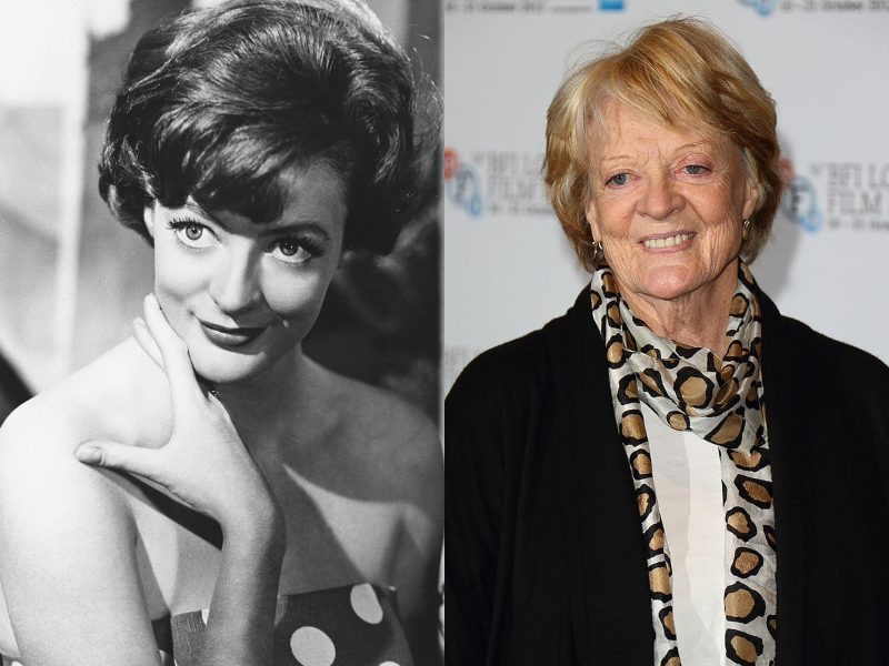 Young Maggie Smith smiles in black and white beside an older Maggie Smith at a film festival.