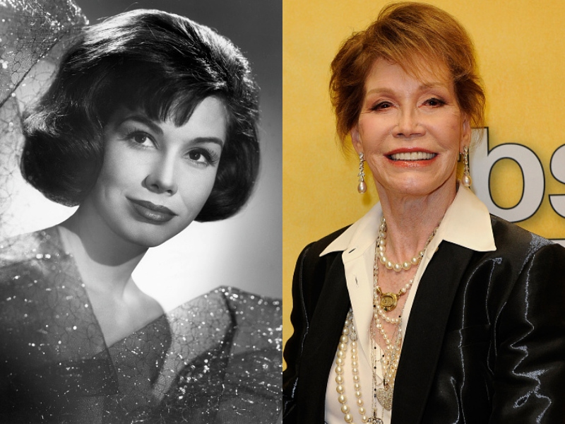 A black and white photo shows young Mary Tyler Moore next to a colored photo of her older and smiling.