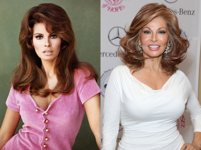 Raquel Welch leans on one hip both in youth and in her older age, looking gorgeous at both ages.