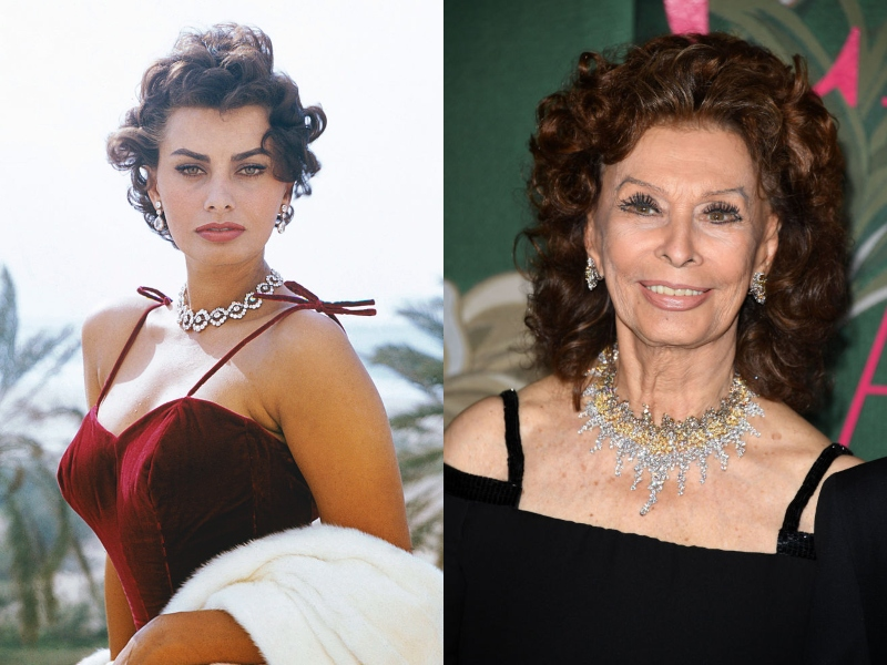 Young Sofia wears a straight face and diamond jewelry next to an older, smiling Sofia, still in dazzling jewelry.