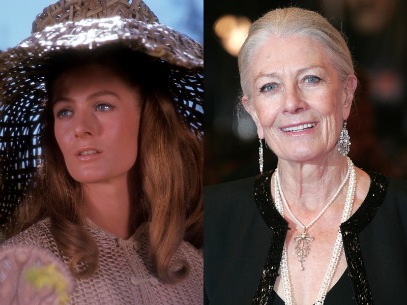 Young Vanessa is pictured looking elegant in a straw hat next to a recent Vanessa, who looks lovely as ever in long jewelry.