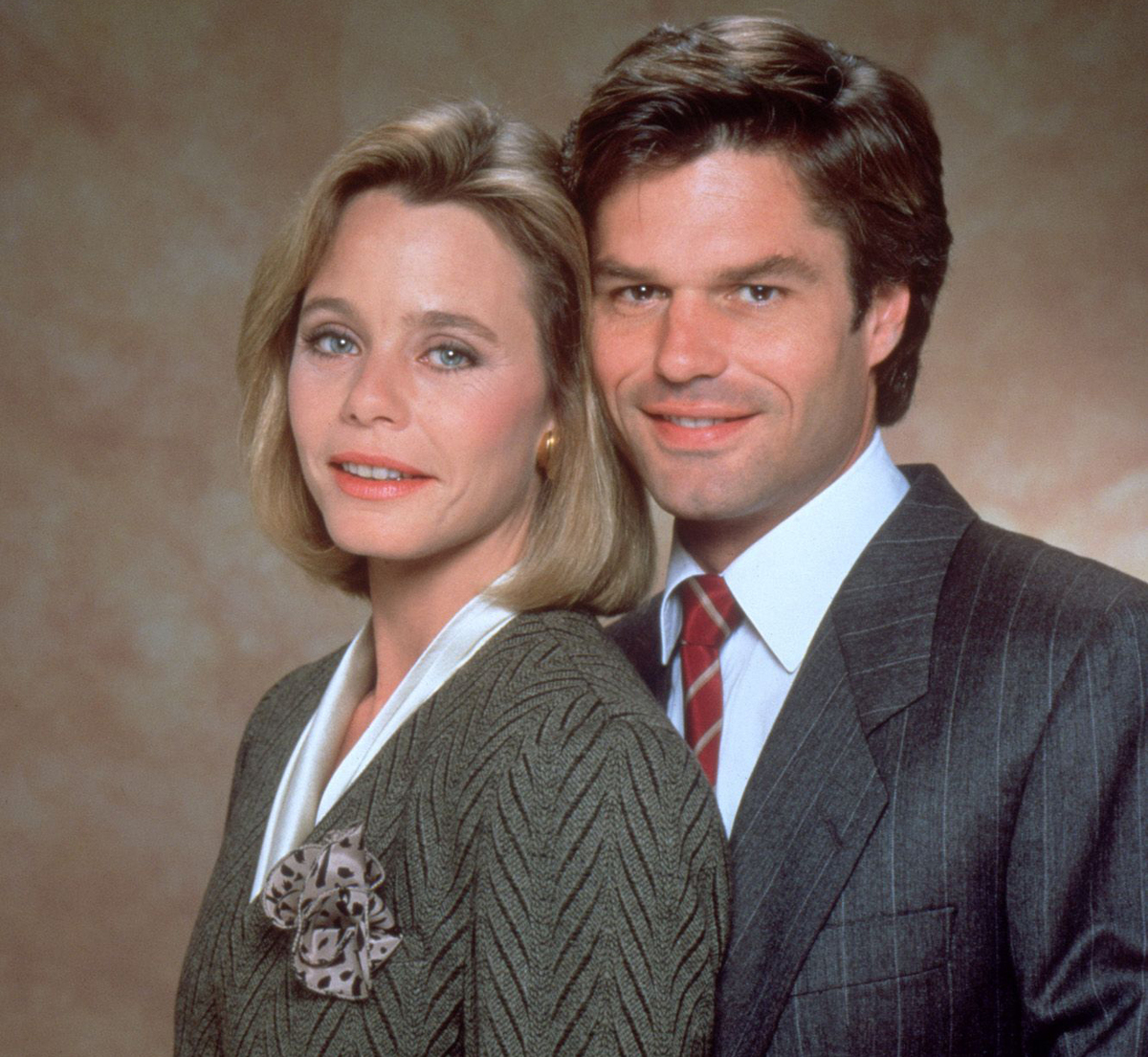 Harry Hamlin poses with Ssuan Dey for L.A. Law.