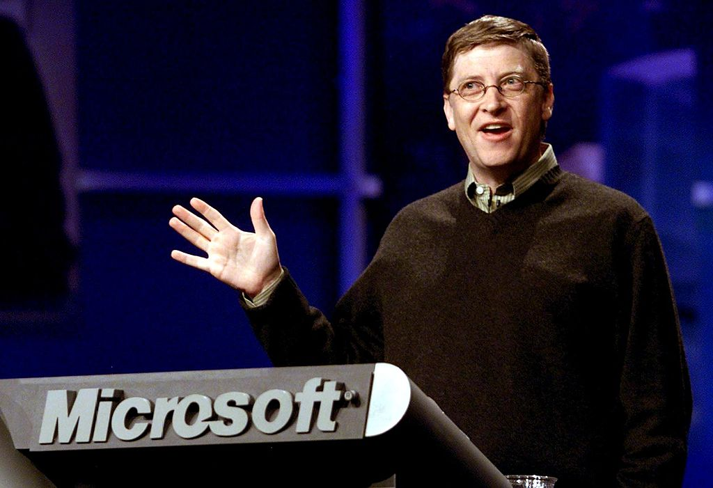 Chairman and CEO of Microsoft Bill Gates makes a point during his key note address