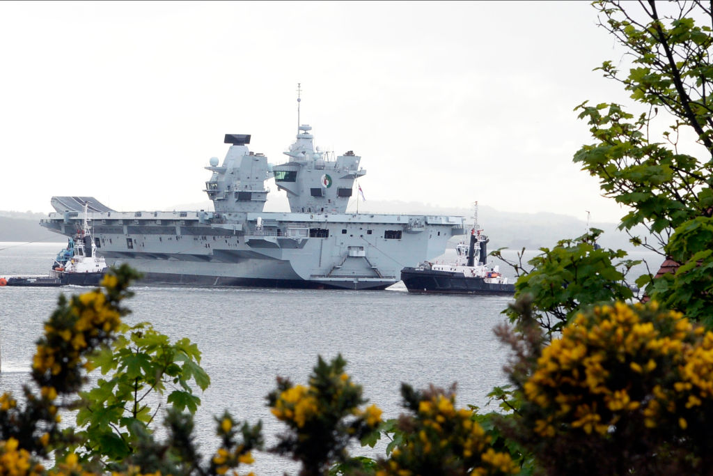The HMS Queen Elizabeth sails beyond a bushes with flowers.
