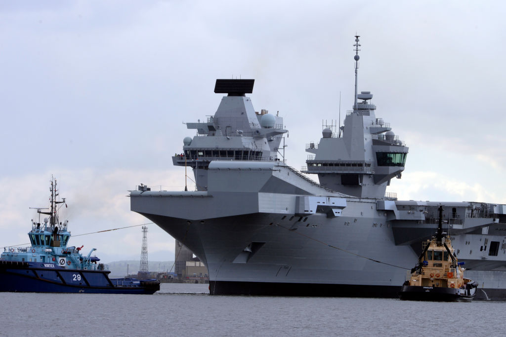 The Royal Navy aircraft carrier HMS Queen Elizabeth leaves Rosyth Dockyard