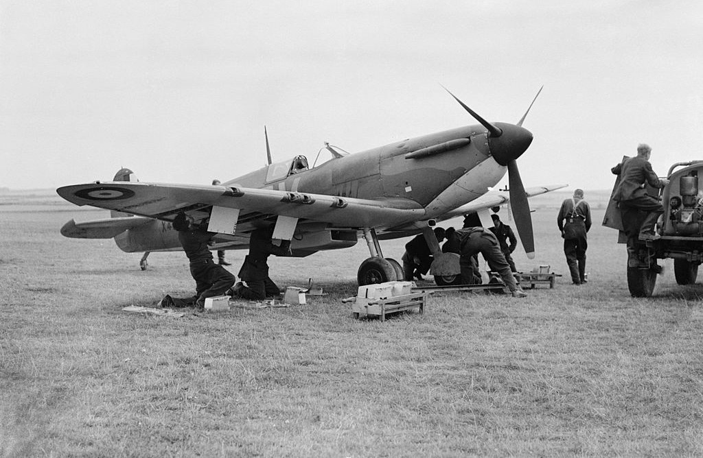 Men working on a Spitfire