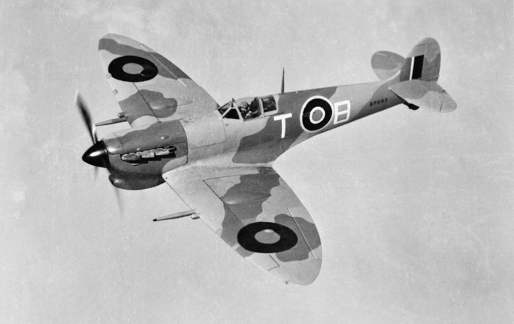 Spitfire flying above Malta