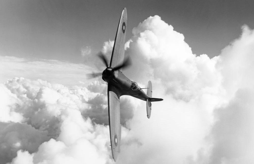 Spitfire flying sideways