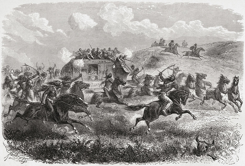 Native Americans attacking stagecoach