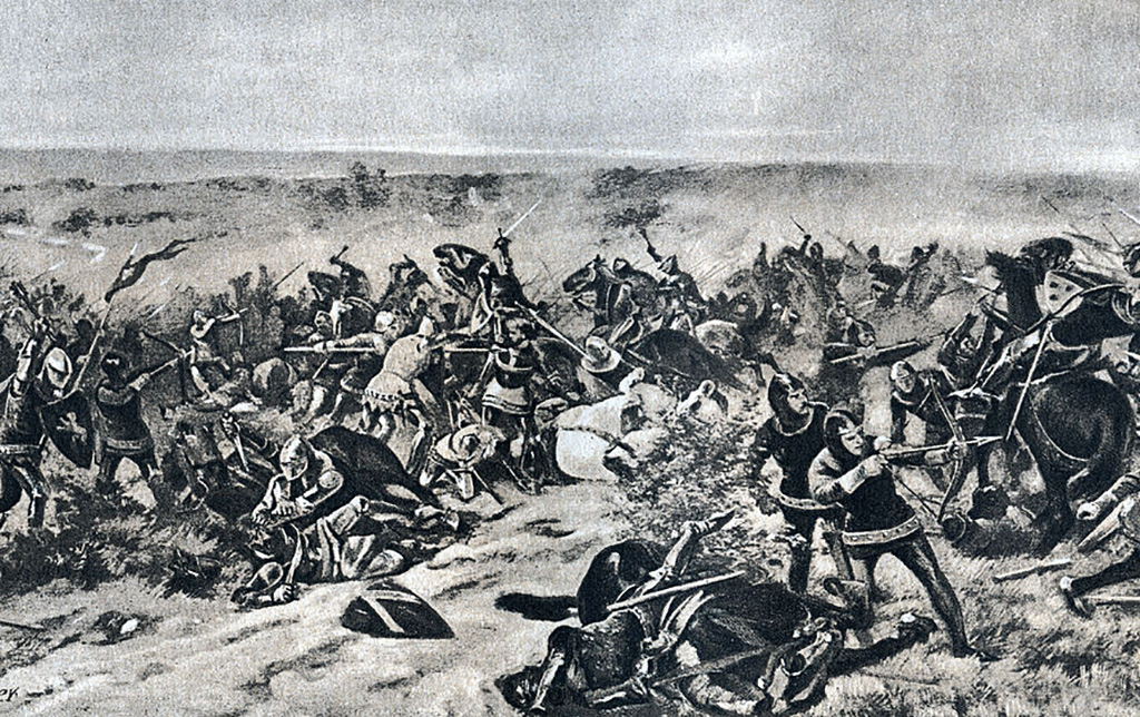 Men battling in the Hundred Years' War