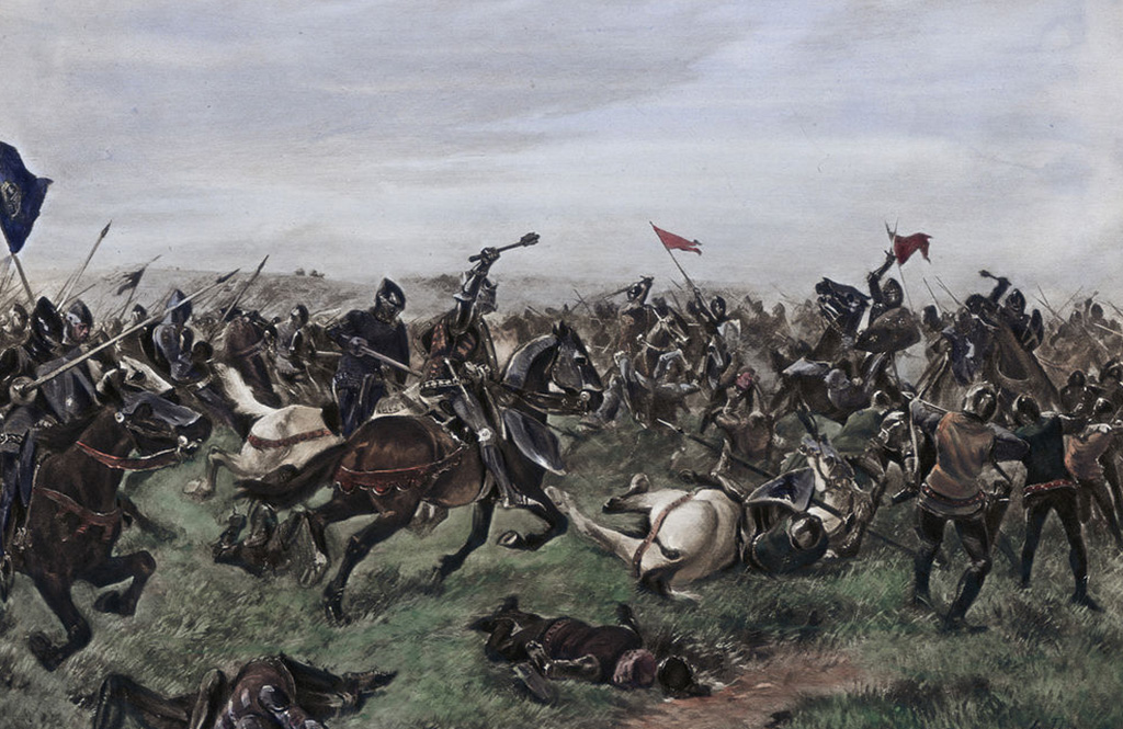 Henry fighting at Agincourt
