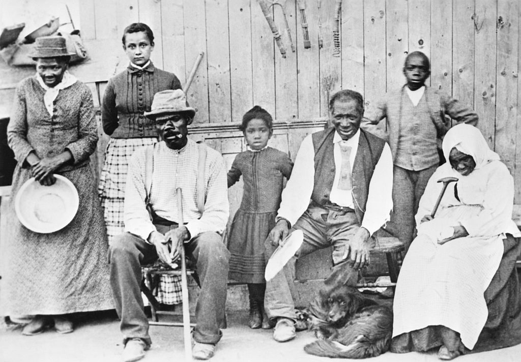 Escaped slaves with Harriet Tubman