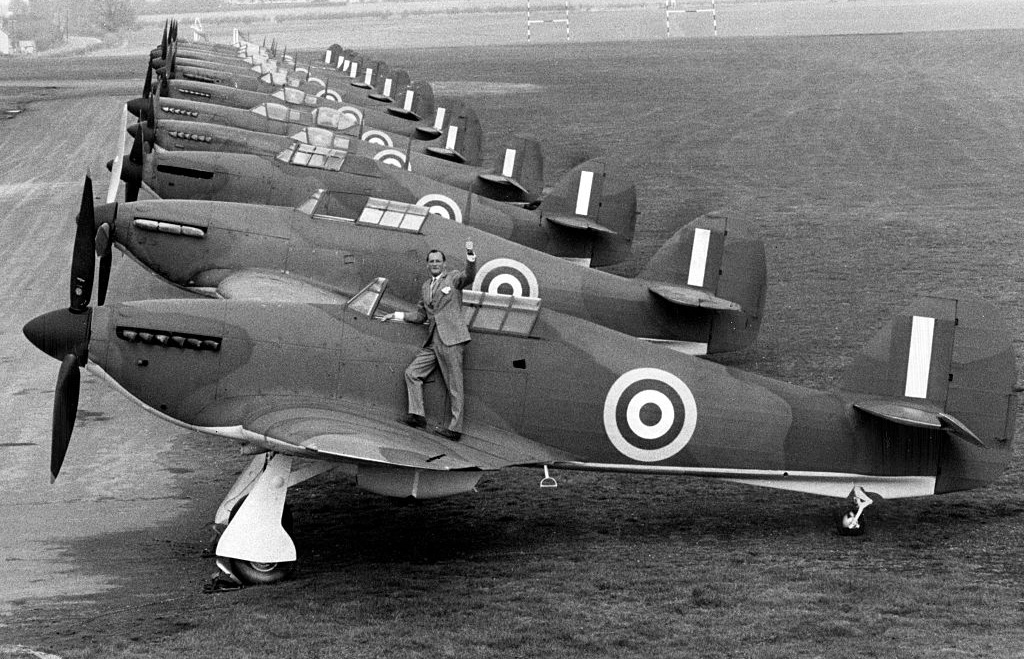 Ace pilot with Spitfires