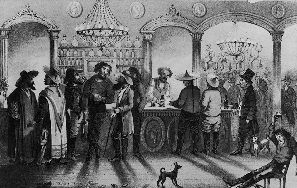 men drinking in a saloon