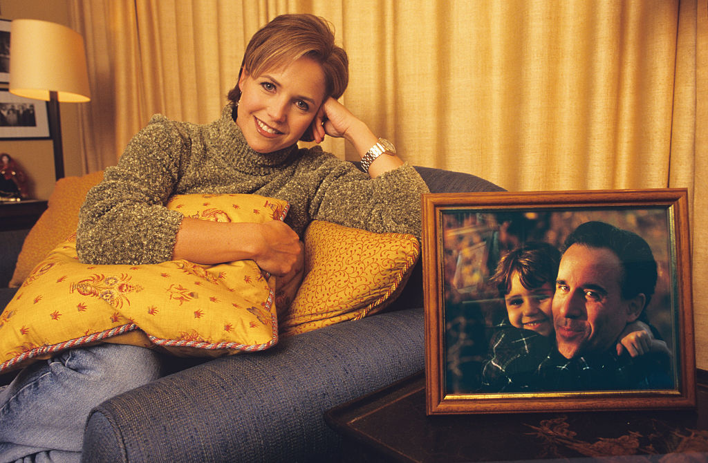 Katie Couric relaxes on the sofa in her apartment