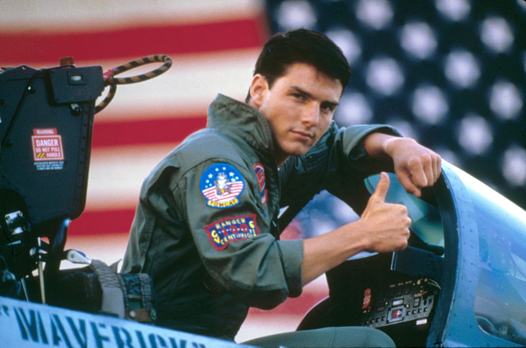 American actor Tom Cruise on the set of Top Gun