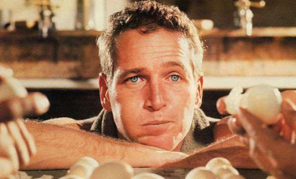 Paul Newman eating eggs