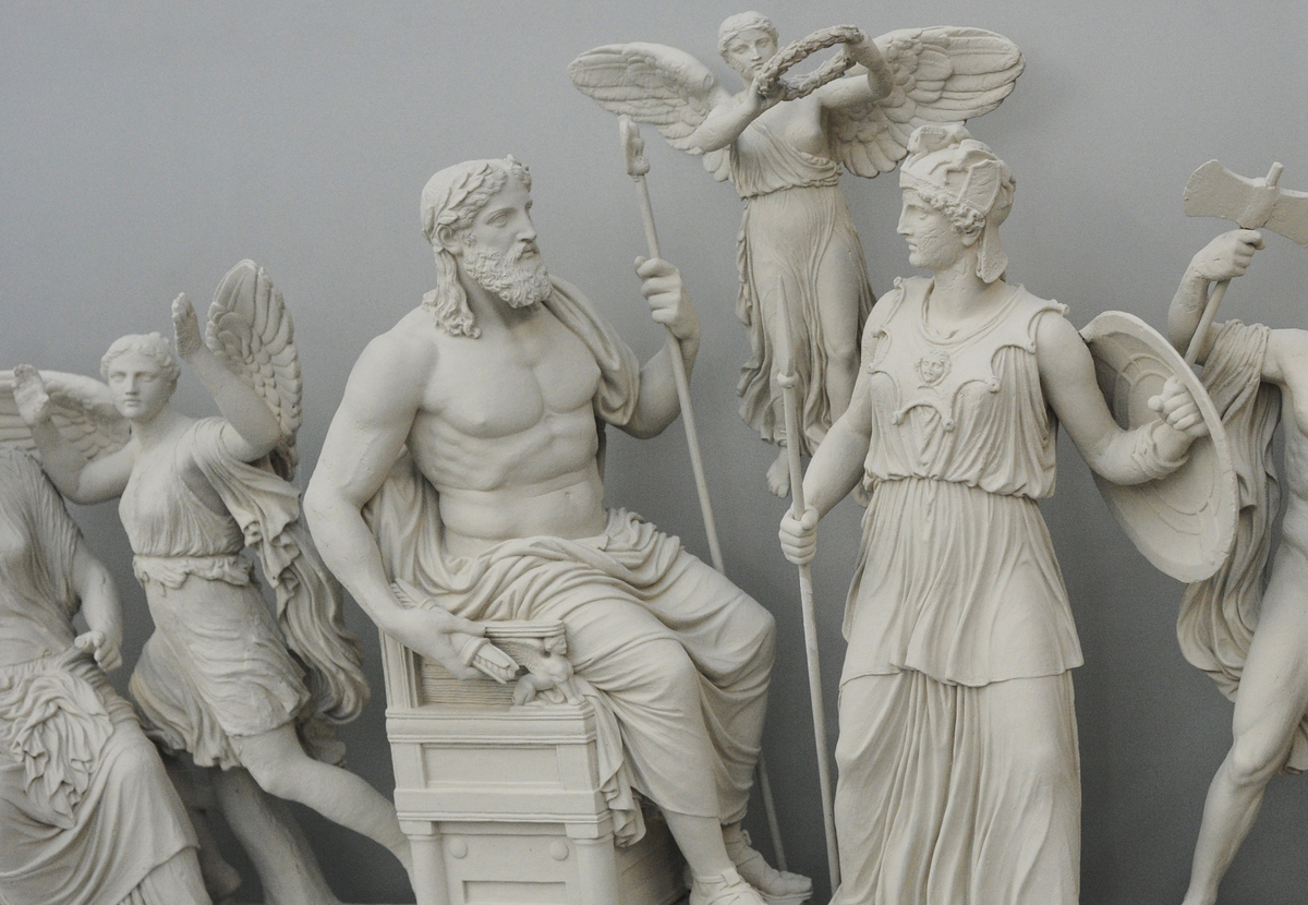 Statues of the Greek gods are on display in the Acropolis in Athens.