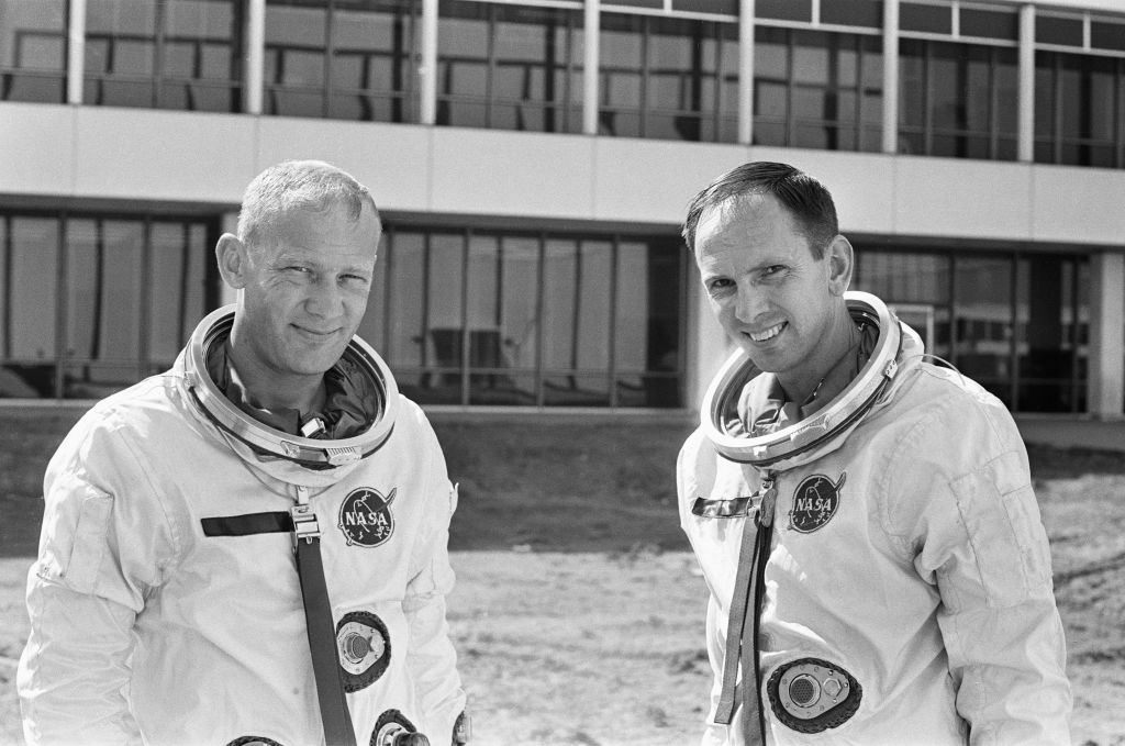 Black and white photo of Buzz Aldrin
